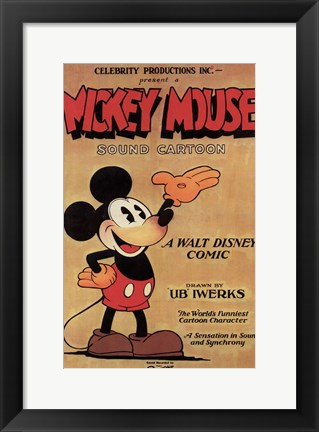 Framed Mickey Mouse - Sound Cartoon Print