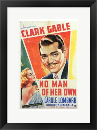 Framed No Man of Her Own With Gable And Lombard Print