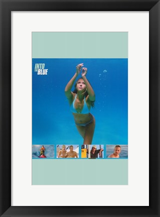 Framed Into the Blue Jessica Alba Swimming Print