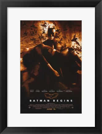 Framed Batman Begins Liam Neeson and Kate Holmes Print