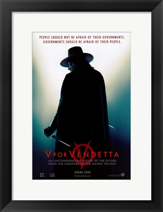 Framed V for Vendetta Silhouette Print
