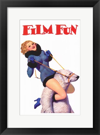 Framed Film Fun Polar Bear Pin Up Girl Print