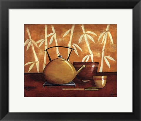 Framed Bamboo Tea Room I Print