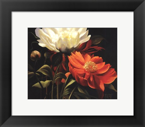 Framed Red Peony Print