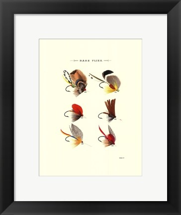 Framed Bass Flies II Print
