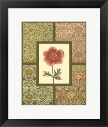 Framed Textile with Floral II Print