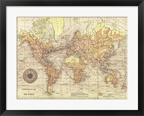 Framed World Map II Print