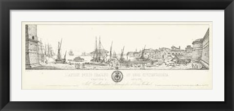Framed Antique Seaport II Print