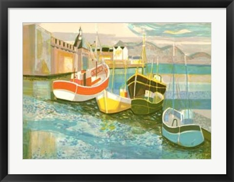 Framed Boats in Harbor II Print