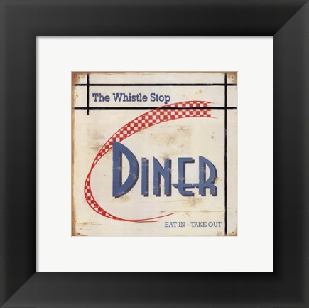 Framed Whistle Stop Diner Print