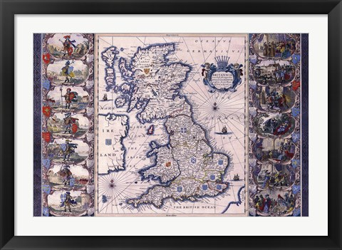 Framed Map - Britannia Print