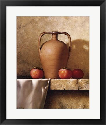 Framed Olive Oil Jug with Persimmons Print
