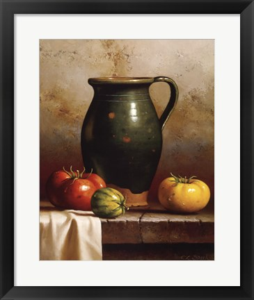 Framed Green Pitcher, Heirlooms & Cloth Print