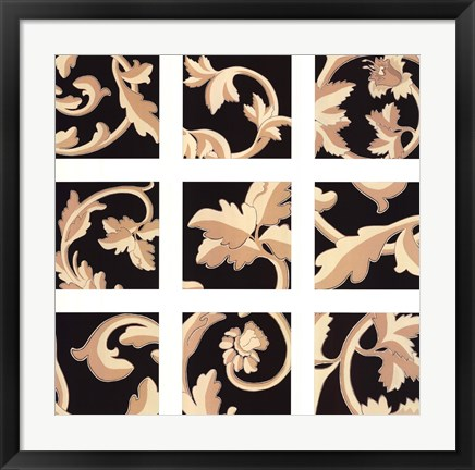 Framed Damask Panel Print