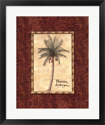 Framed Red Passion Palm I Print