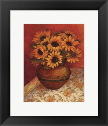 Framed Tuscan Sunflowers I - mini Print
