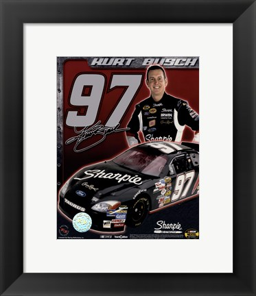 Framed 2006 Kurt Busch collage- car, number, driver and signature Print