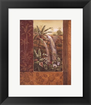 Framed Tropical Waterfall I Print