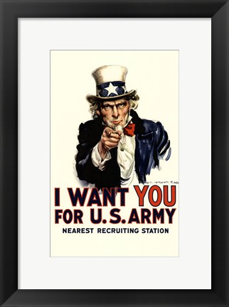 Framed I Want You For Us Army Print