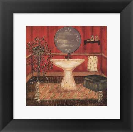 Framed Bath in Red I Print