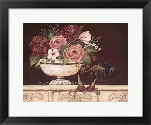 Framed Floral W-Black Bird Print