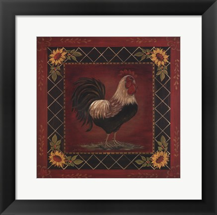 Framed Sunflower Rooster I Print