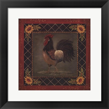Framed Sunflower Rooster II Print