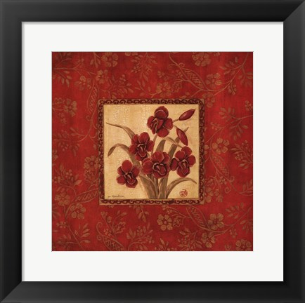 Framed Orchids In Red Print