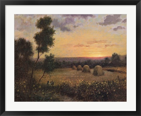 Framed Haystacks At Dusk Print