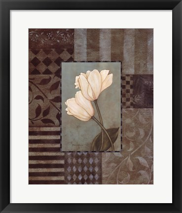 Framed Aqua Tulips W- White Print