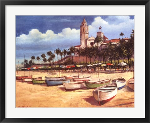 Framed Boats on the Shore Print