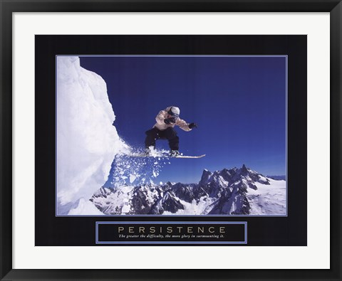 Framed Persistence - Snowboarder Print
