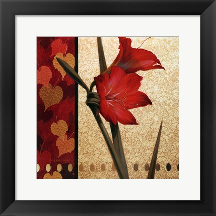 Framed Amaryllis Red Damasque Print