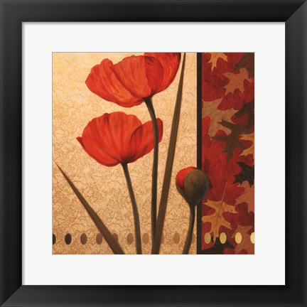 Framed Poppy Red Damasque Print