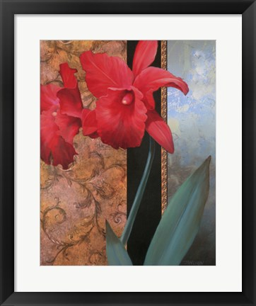 Framed Lily Red/Teal Damasque Print