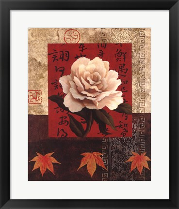 Framed White Chinese Rose Print