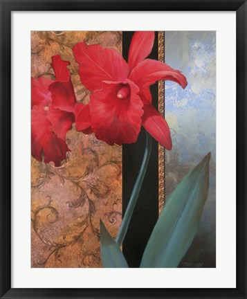 Framed Red Orchid/Teal Damasque Print