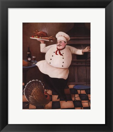 Framed Turkey Chef II Print