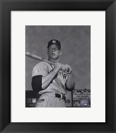 Framed Mickey Mantle- With bat looking towards his right Print