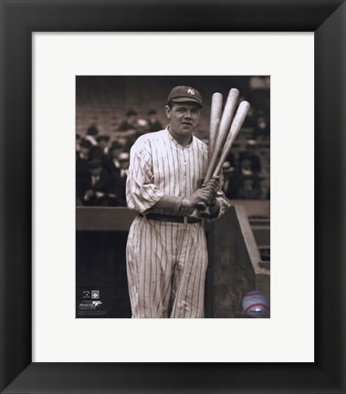 Framed Babe Ruth - with 3 bats Print