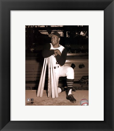 Framed Roberto Clemente leaning on bats Print