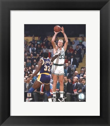 Framed Larry Bird Taking A Shot And Magic Johnson Print