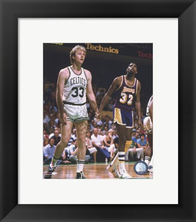 Framed Larry Bird and Magic Johnson On The Court Print