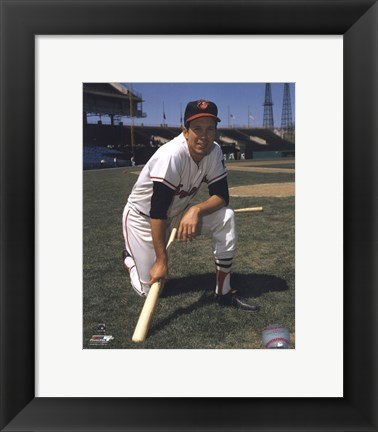 Framed Brooks Robinson - Posed kneeling with bat Print