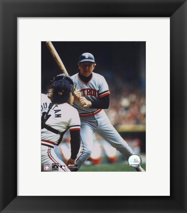 Framed Al Kaline - Looking at catcher Print