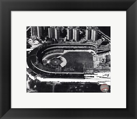 Framed Polo Grounds - Aerial view, sepia Print