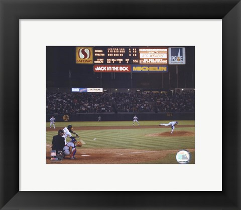 Framed Nolan Ryan - 6th No Hitter (Last Pitch) Print