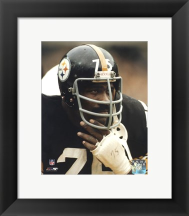 Framed Joe Greene - Close up on sidelines Print