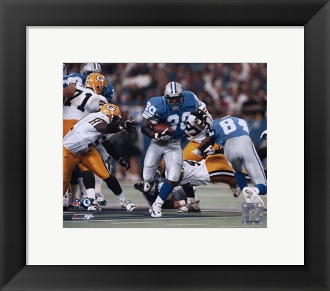 Framed Barry Sanders - Game Action Print