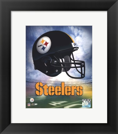 Framed Pittsburgh Steelers Helmet Logo Print
